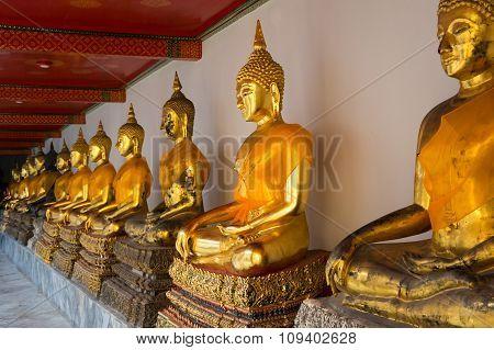 Golden Buddha Sculptures In Wat Pho