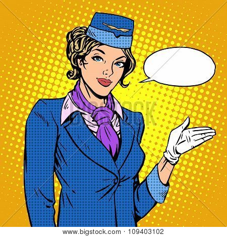 Stewardess airline invites you to Board