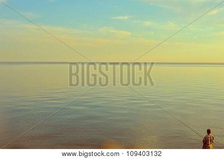 Fishing man at beauty sunrise