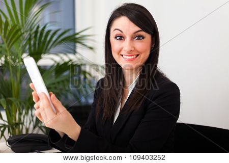 Portrait of a smiling businesswoman using a digital tablet