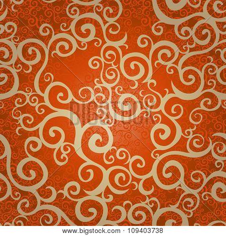 Vector Seamless Pattern With Swirls Motifs In Retro Style.