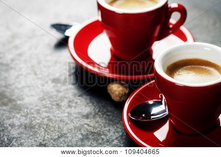 Coffee Espresso. Red Cups Of Coffee on dark background