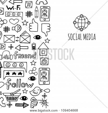 Banner Vertical Social Media Sketch Icons Design Illustration. Doodle Illustration