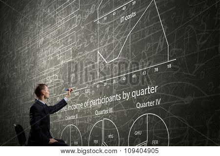 Rear view of businessman drawing with marker business sketches on wall