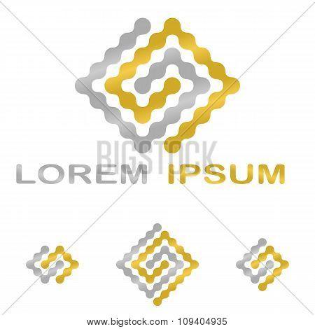 Golden silver science, technology company symbol set