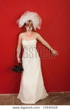 Lady Wearing A Bridal Dress