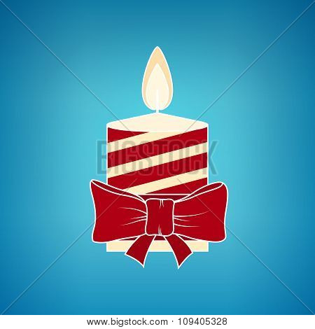 Colorful Christmas Candle On A Blue Background
