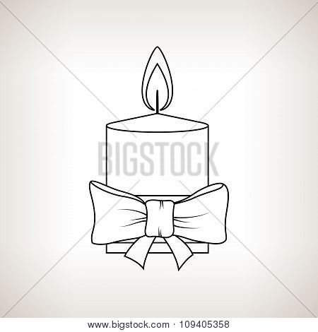 Christmas Festive Candle On A Light Background