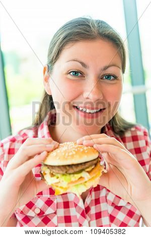 Happy Beautiful Girl In The Restaurant And Fast Food
