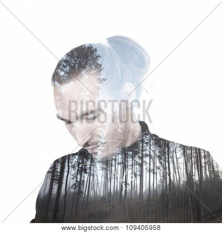 Portrait Of A Man Combined With Scenic Forest