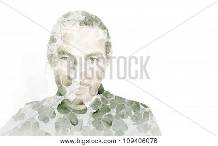 Portrait Of A Man Combined With Clover Leaves
