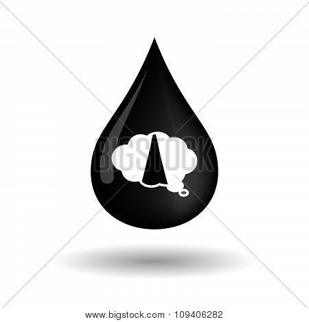 Vector Oil Drop Icon With A Comic Cloud Balloon