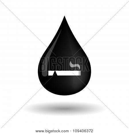 Vector Oil Drop Icon With A Cigarette