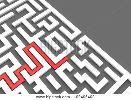 Red Arrow Leads Through A Maze