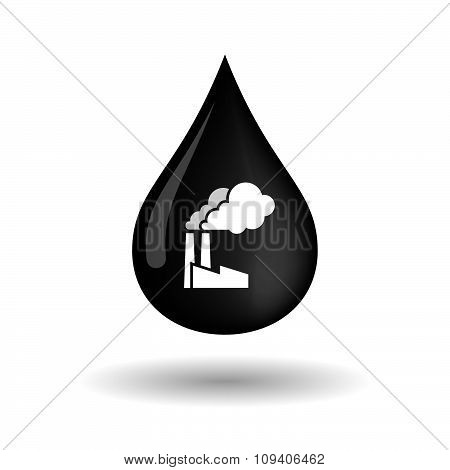 Vector Oil Drop Icon With A Factory