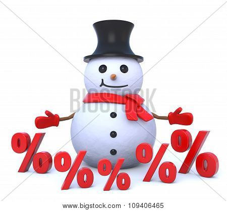 Small 3D Snowman Surrounded By Percent Signs