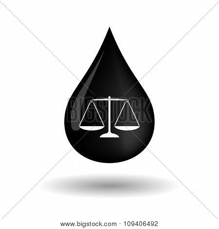 Vector Oil Drop Icon With A Justice Weight Scale Sign
