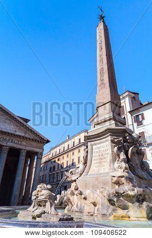 Fountain On The Piazza Della Rotonda In Rome
