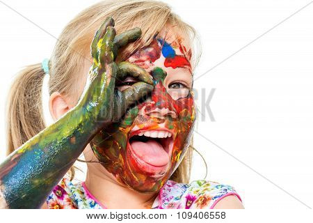 Fun Portrait Of Painted Infant.