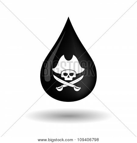Vector Oil Drop Icon With A Pirate Skull