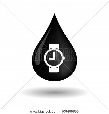 Vector Oil Drop Icon With A Wrist Watch