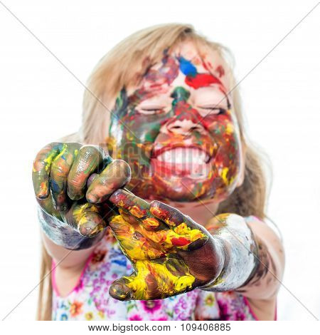 Funny Girl With Painted Hands And Face.