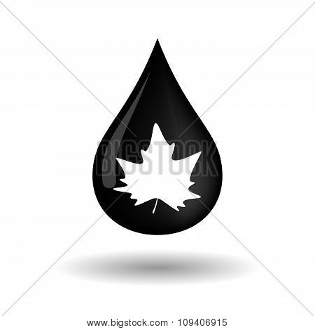 Vector Oil Drop Icon With An Autumn Leaf Tree