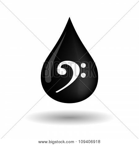 Vector Oil Drop Icon With An F Clef