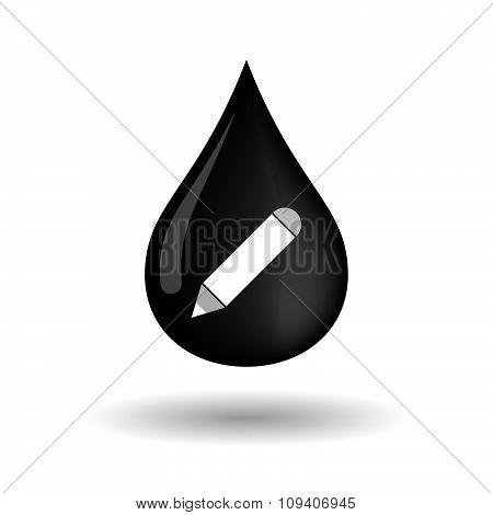 Vector Oil Drop Icon With A Pencil