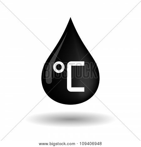 Vector Oil Drop Icon With  A Celsius Degree Sign