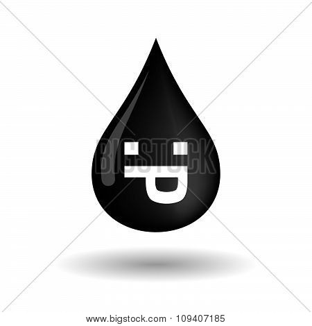 Vector Oil Drop Icon With A Sticking Out Tongue Text Face