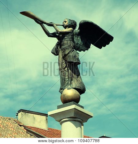 Statue Of An Angel At Uzupio, Vilnius, Lithuania.