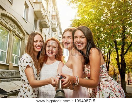 Group of girl friends taking a selfie