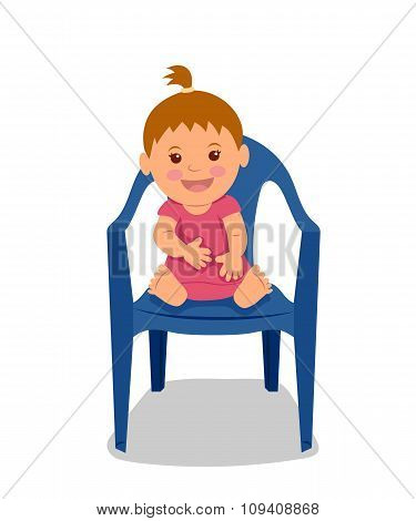 Cute little child sitting on the chair and smiling. Little girl in a pink dress