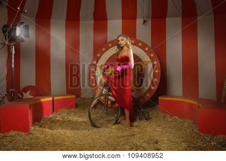 Circus Actress On Retro Bike
