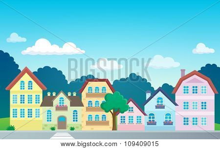 Stylized town theme image 1 - eps10 vector illustration.