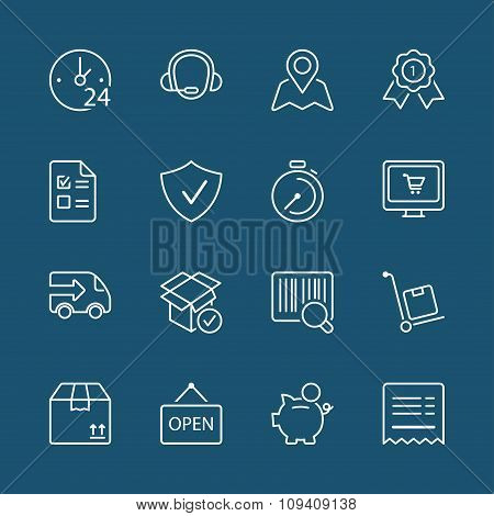 Shopping White Thin Line Iconset 1