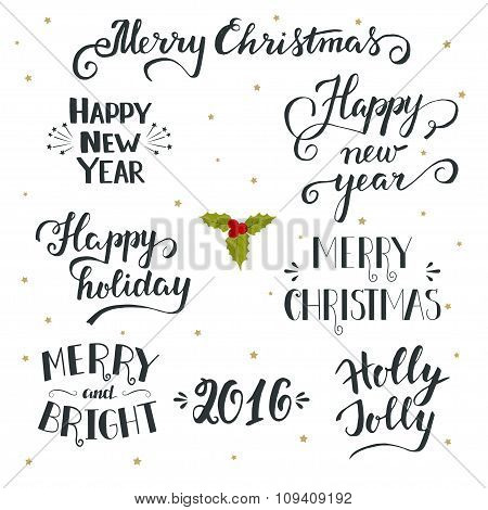 Hand Drawn Christmas And New Year Holiday Collection With Lettering