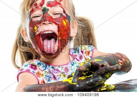 Painted Girl Pulling Out Tongue.