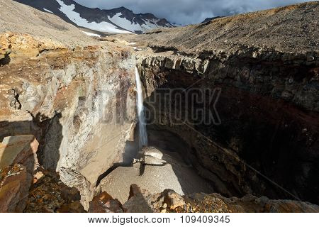 Dangerous Canyon, waterfall on river Vulkannaya. Mutnovsky Volcano. Kamchatka
