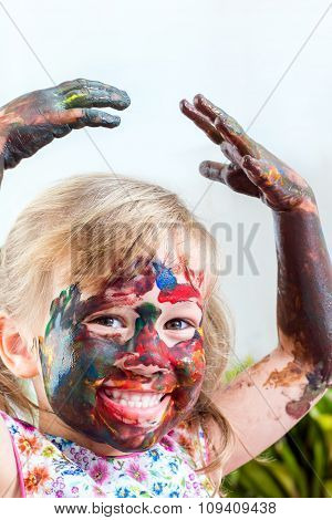 Painted Girl With Hand In Air.