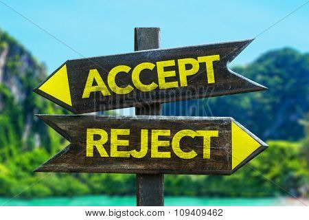 Accept - Reject signpost in a beach background
