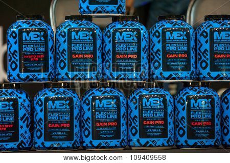 MOSCOW, RUSSIA - NOVEMBER 21, 2015: Flex Wheeller`s sports nutrition at the exhibition SN Pro Expo Forum 2015 on November 21, 2015 in Moscow, Russia