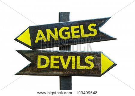 Angels - Devils signpost isolated on white background