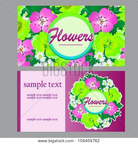 Two bright cards in floral style for your business needs