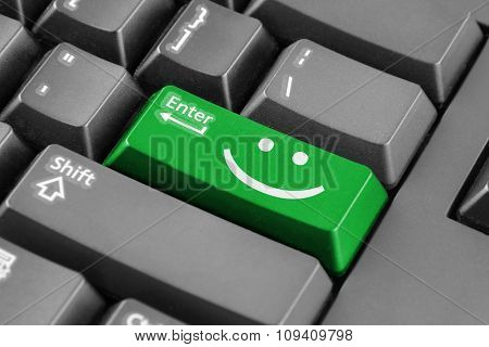Green Enter Button With Smile Symbol