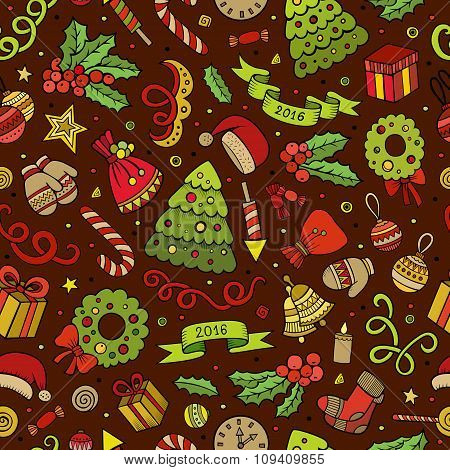 Cartoon vector doodles New Year seamless pattern