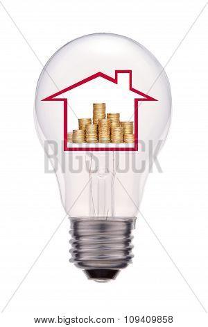 House Inside Light Bulb, Isolated On White