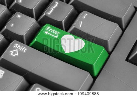 Green Enter Button With Heart Symbol