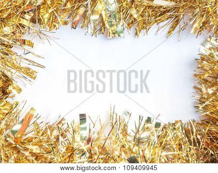 Shiny Ribbon tinsel Over White Background